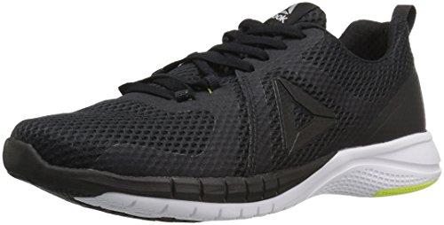 Reebok Men's Print 2.0 Running Shoe, Black/White/Solar Yellow/Pewter, 13 M (Reebok Gym Equipment)