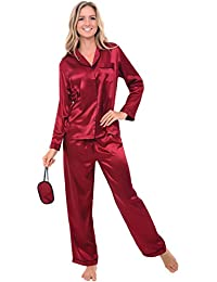 Womens Solid Color Satin Pajamas, Long Button-Down Pj Set and Mask