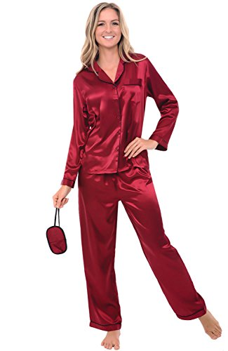 Alexander Del Rossa Womens Satin Pajamas, Long Button-Down Pj Set and Mask, Medium Burgundy with Black Piping (A0750BGPMD)