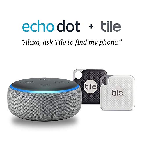 Echo Dot (3rd Gen) –  Heather Gray with Tile Pro 2 pack (1 x Black, 1 x White)