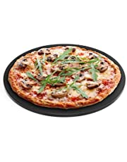 """Chef Pomodoro 15"""" Round Pizza Stone, Glazed Natural Stone for Baking Ovens and Grills, Pizza Bread Baking"""