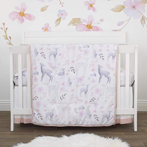 New Nojo Watercolor Deer 4 Piece Nursery Crib Bedding Set