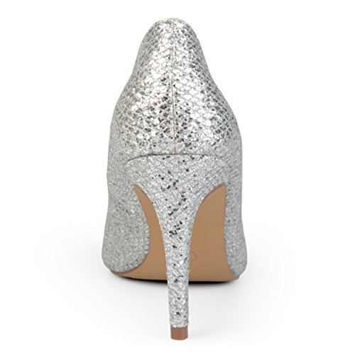 Journee Womens Pointed Jewel Glitter Heels Toe Collection Journee Silver Collection rqaR7r1