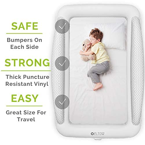 Eltow Inflatable Toddler Air Mattress Bed With Safety Bumper - Portable, Modern Travel Bed, Cot for Toddlers - Perfect For Travel, Camping - Removable Mattress, High Speed Pump and Travel Bag Included 2
