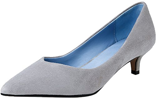 Kitten Shoes Jtaar Women Court Calaier 5CM 4 Pointed Slip on Grey Toe Heel 1YwUF