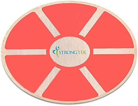 StrongTek Oval Wood Balance Board and Wobble Boards Rocker, Balance Disc, Core Strength Exercise Fitness Accessory, Workout Stability Equipment, Yoga Stretching, Standing Desk Use