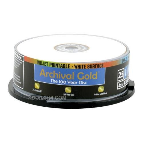 Delkin DVD-R Archival Gold with Inkjet Printable Face, 4.7 GB, 25 Pack with Cakebox Spindle