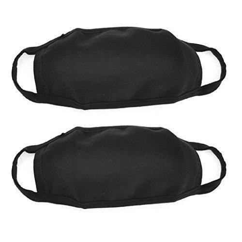 Lot de 2 Noir Mé lange de Coton Unisexe Anti-poussiè re Earloop Visage Bouche Masque Masque de la Grippe Sports d'exté rieur Masque de Protection respiratoire Wilotick EBUY11A