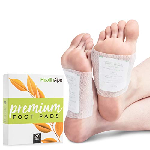 HealthApe Bamboo Vinegar Foot Pads: Sticky Foot Sleep Patches to Remove Toxins - Health and Beauty Foot Care Patches for Pain Relief with Purifying Charcoal - Box of 20 for - Remove Pad Toxins Foot
