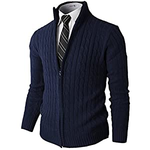 H2H Mens Slim Fit Full-zip Kintted Cardigan Sweaters with Twist Patterned
