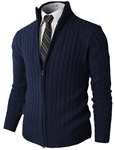H2H Mens Slim Fit Full-Zip Kintted Cardigan Sweaters With Twist Patterned Navy US 3XL/Asia 4XL (Mens Zip Front Cardigan)