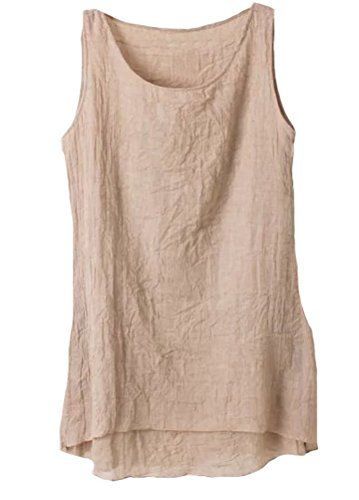 veless Pockets Casual Swing T-shirt Dresses Khaki S (Linen Sleeveless Blouse)