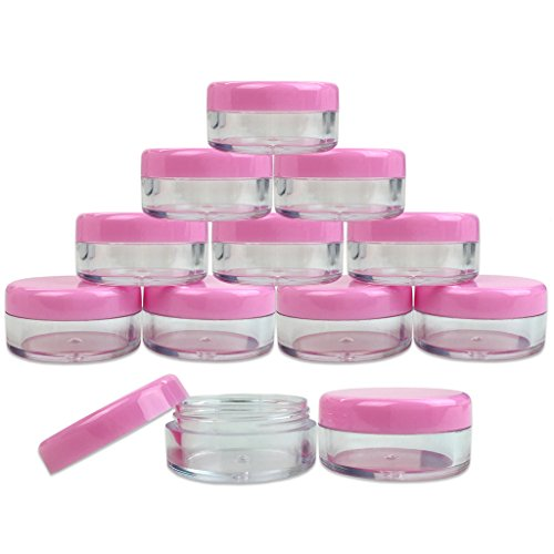 Round Clear Jars with Pink Lids for Lip Balms
