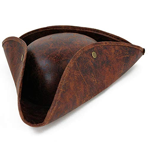 Big Pirate Hat (Skeleteen Faux Leather Pirate Hat - Brown Distressed Leather Colonial Style Tricorn)
