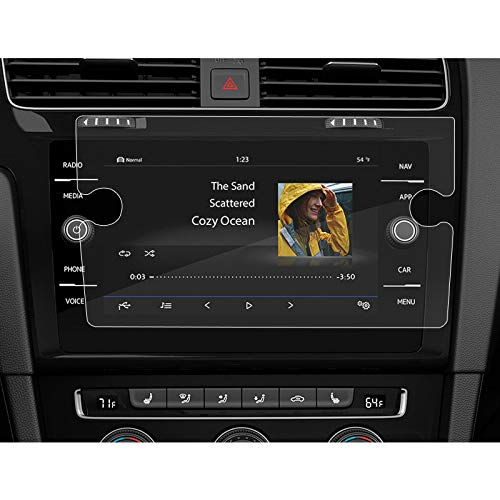BUENNUS Navigation Screen Protector for Volkswagen Jetta Golf 2019 2018,Infotainment Display in-Dash Center Touch Protective Film for VW Golf R GTI Alltrack SportWagen Tempered Glass 8 Inch ()