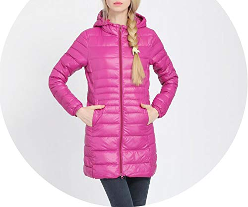 Womens White Poly Fill Jacket - Winter Down Jacket Women Long White Duck Down Jacket Ultralight Hooded Thin Hat,Pink,L