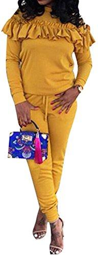 Ruffled Two Piece (Speedle Women's 2 Pieces Outfits Ruffled Sweatshirt + Long Pants Sweatsuits Set Tracksuits Yellow XL)
