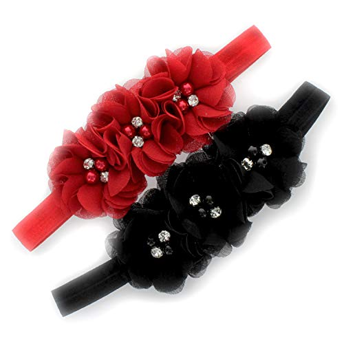 My Lello Baby Flower Headbands Fabric Beaded Trio Stretchy Elastic Pair (Red/Black)