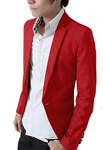 YUNY Mens Boys Solid Slim Fit Button Blazer Stylish Suit Jacket XS Red