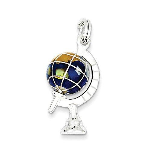 Enameled Globe Charm - .925 Sterling Silver Blue Enameled Globe Charm Pendant