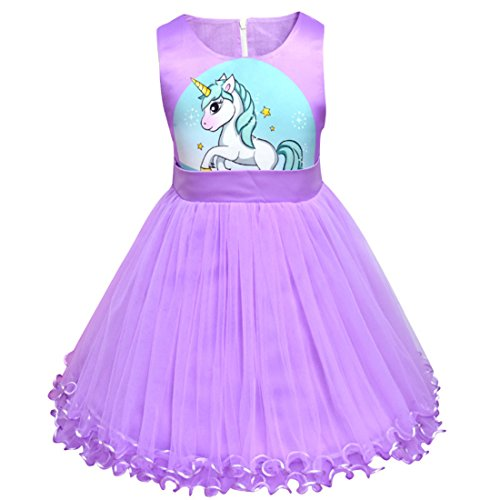 Mesh Dresses Sleeveless Kids Girl Dress Party Girl Little purple1 Unicorn Flower Bow Double Thombase Tie � Summer qxf6BYnIw
