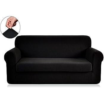 Chunyi 2 Piece Jacquard Polyester Spandex Sofa Slipcover (Loveseat, Black)