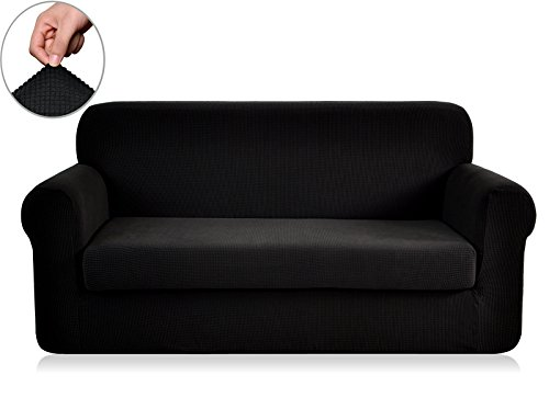 Chunyi 2-Piece Jacquard Polyester Spandex Sofa Slipcover (Loveseat, Black) (Living Bed Fabric Room)