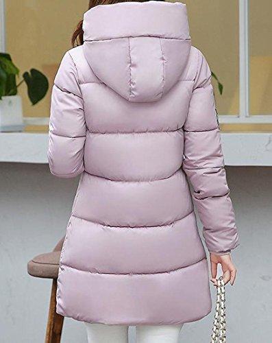 Down Slim Hoodie Women's Coats M EKU Thicken Wild Overcoat Pink Solid wSxI6g