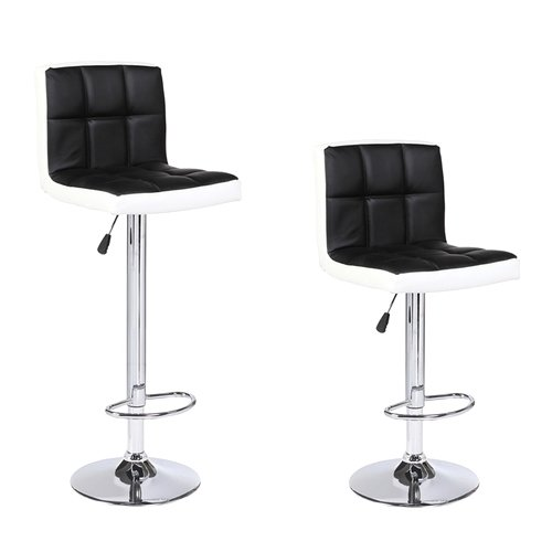 (Mecor PU Leather Adjustable Hydraulic Bar Stools with Back,Counter Height Swivel Square Bar Chairs,Set of 2, Black&White)
