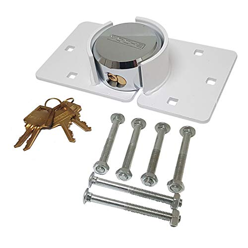 Voche® Heavy Duty White Padlock & Hasp Van Lock Set with Free Fixing Bolts!