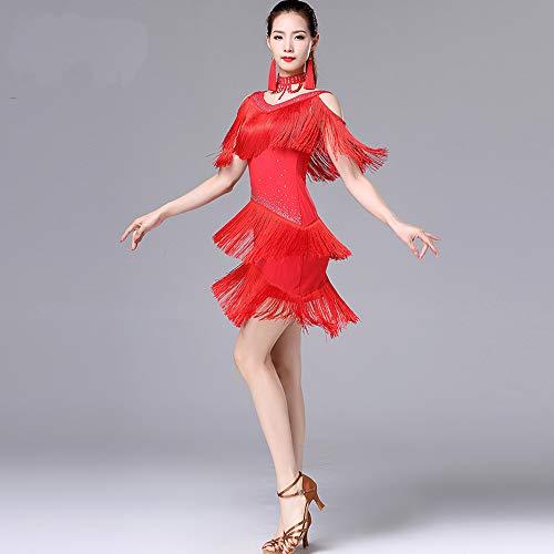 Rumba Nappa Red Abito Prestazione Vestito Da Per Vestito Abito Con Latina Alla XXL Da Donna Samba GONGXI Danza Danza Cinturino Di CYUddw