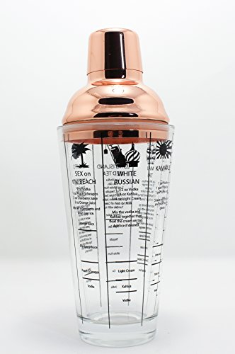 Rose Gold 14oz Glass Cocktail Shaker with Six Recipes on the Glass-Make the Perfect Cocktail Yourself by Single Source Direct