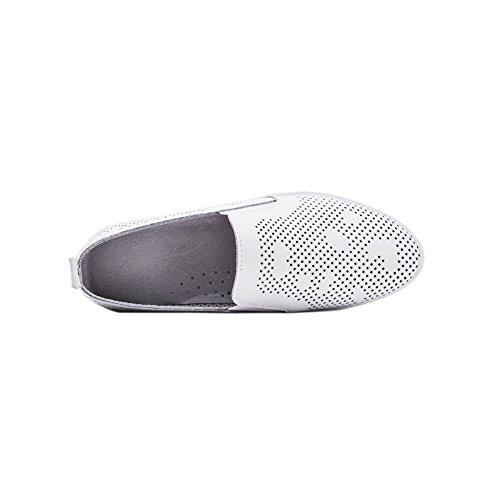 Kvinnor Fjädrar Sommar Utklipp Hål Elastiska Flats Loafers Äkta Läder Andas Mode Sneakers Vita