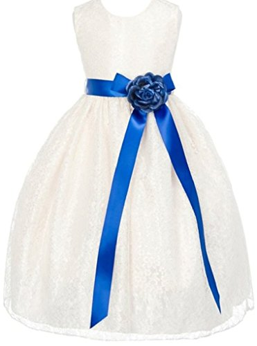Big Girls' Ivory Dress Lace Custom Ribbon Flowers Girls Dresses Royal Royal 12