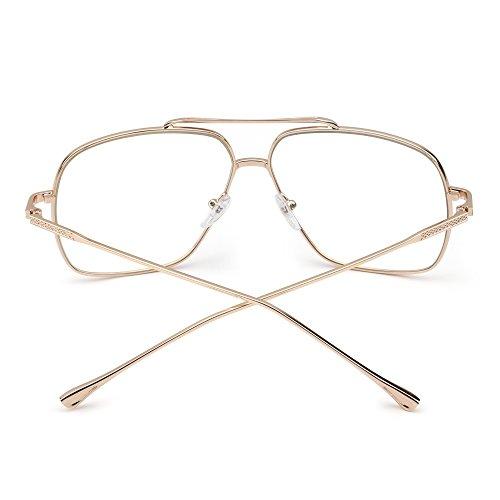 Des Femmes Or soleil Aviateur Gradient Clair Lunette de Hommes Pilot Lentille Métal Oversize Solaire Clair lunettes qxHn5TT