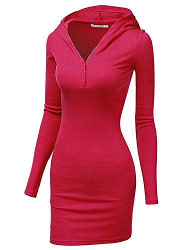 Doublju Womens Active Button Hooded Mini Dress RED,2XL