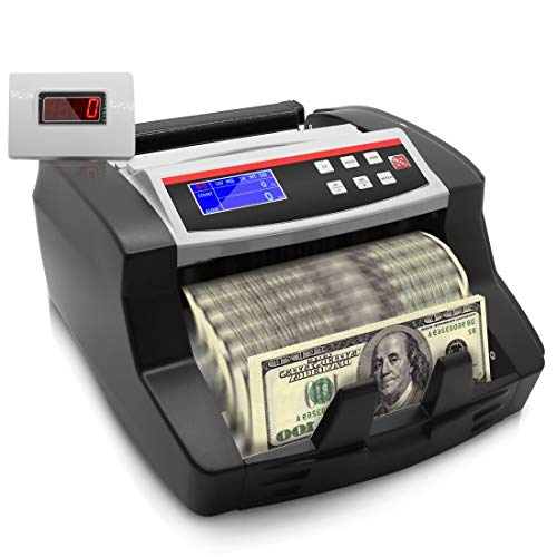 Money Counter with Counterfeit Detector - Automatic Digital Bill Counter, Cash Counting Machine w/Top Loader, Detachable LCD Display, Counts U.S Canadian Dollar, Euro, Pound Banknote - Pyle PRMC150.5