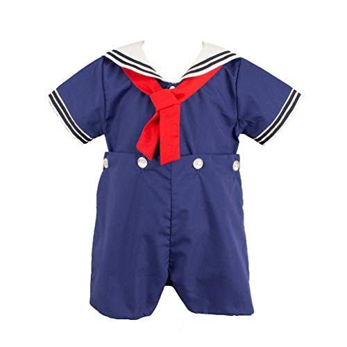 - Petit Ami Baby Boys' 2 Piece Nautical Bobby Suit with Collar, 9 Months, Navy