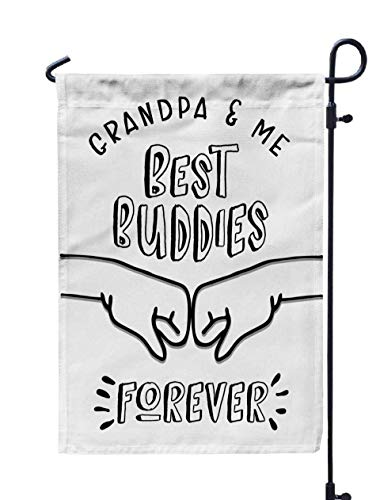 Shorping Open Garden Flag, 12x18Inch Grandpa and Me Best Forever Printable Poster Card with Fist Pump Graphic for Holiday and Seasonal Double-Sided Printing Yards -