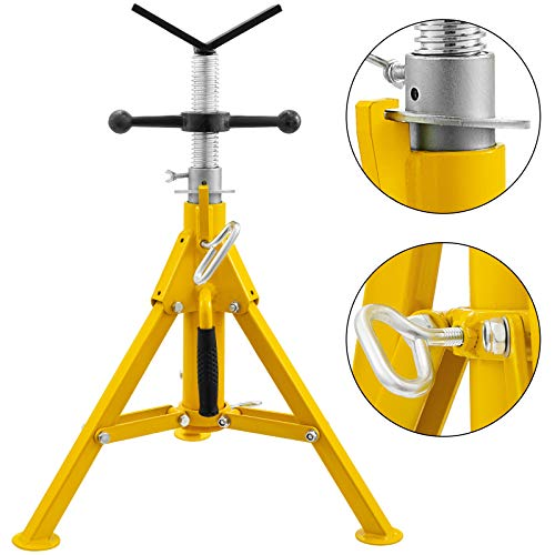Mophorn 0.5-12 inch V Head Pipe Stand Adjustable Height 22-37 inch 4500lb Pipe Jack Stands Folding Portable High Folding Pipe Stand with V Head Fold A Trailer Jacks
