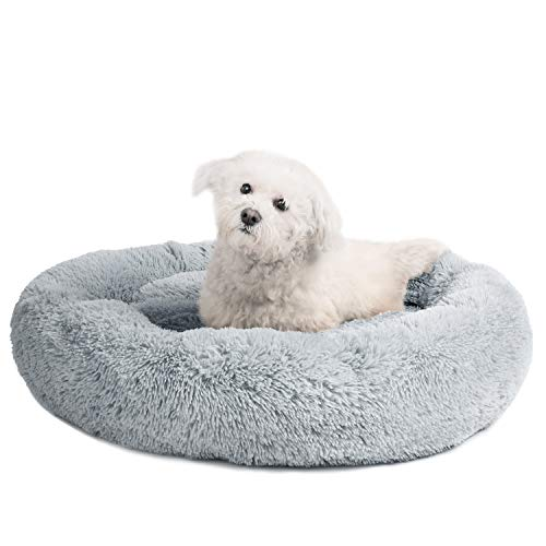 Veehoo Self-Warming Round Dog Bed for Medium Dogs & Cats, Luxurious Faux Fur Donut Cuddler, Bolster Pet Bed & Sofa, Extra Plush Dog Pillow & Couch, Machine Washable, - Dog Bed Donut Large