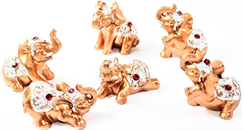 Set of 6 Gold Color Lucky Elephants Statues Feng Shui Figurine Home Decor Housewarming Birthday Congratulatory Gift US Seller ()