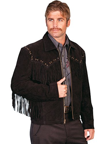 Scully Mens 221 Boar Suede Fringe Leather Outerwear Jackets, Black Suede - 4X_B - Suede Fringe Western Jackets