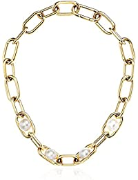 Womens Pearl Link Collar Necklace