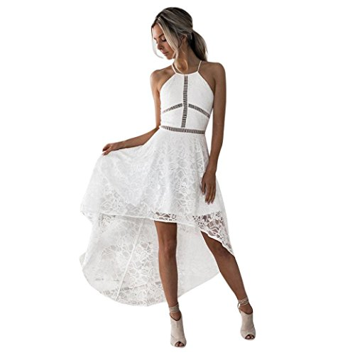 Womens Sleeveless Dress Prom Party Bridesmaid Ball Halter Cocktail High Low Gown Zulmaliu (White, -
