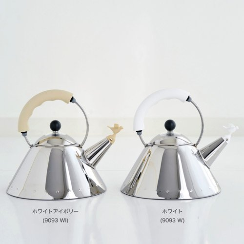 Alessi Kettle in 18/10 Stainless Steel Mirror Polished with Handle and Small Bird-Shaped Whistle in Pa, White by Alessi (Image #7)