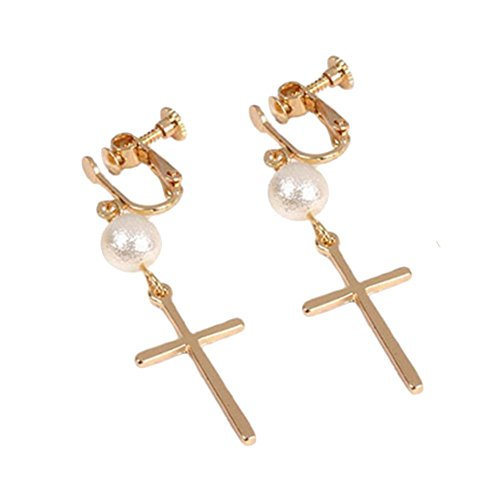 Simulated Pearl Cross Clip on Earrings No Pierced Gold Plated Dangle for Girls Women