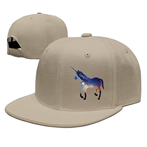 NUBIA Unicorn Horse Custom Baseball Hat Snapback Flat Bill Hat Natural ()