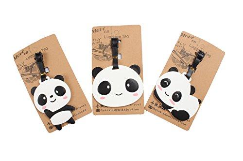 Set of 3 - Super Cute Kawaii Cartoon Silicone Travel Luggage ID Tag for Bags (Panda 3)