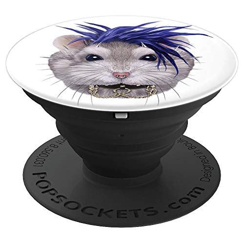 Grey Dwarf Hamster in Punk Rock Style PopSockets Grip and Stand for Phones and Tablets